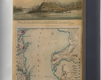 Canvas 16x24; Map Of Blockade Of Potomac River 1862