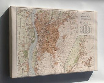 Canvas 16x24; General Map Of Cairo Egypt 1920
