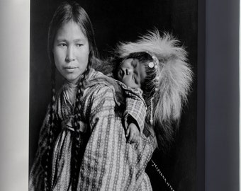 Canvas 16x24; Inuit Woman With Papoose On Back, Arctic Alaska. C1912