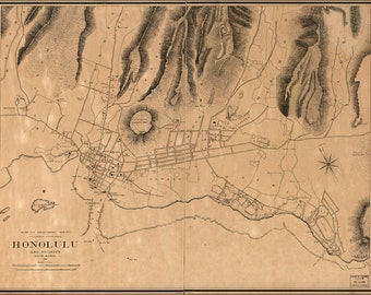16x24 Poster; Map Of Honolulu Hawaii And Vicinity 1887