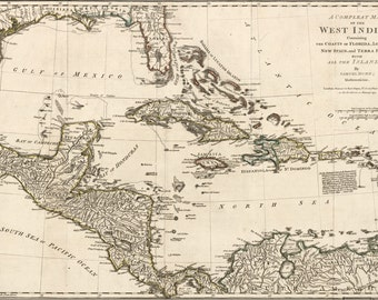 16x24 Poster; Map Of West Indies; Cuba Florida Mexico 1774 P1