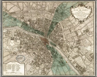 16x24 Poster; Map Of Paris France  In 1740