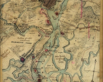 16x24 Poster; Map Of Savannah, Georgia, Nov 1864