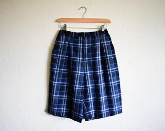 Vintage High Waist Blue Shorts Size 10-12 / 90s Checked Blue Cotton Shorts Medium