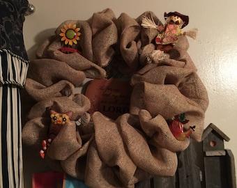 Burlap fall wreath. Perfect home decor!