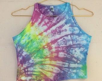 Pastel Tie Dye Fitted Crop Top Festival Wear