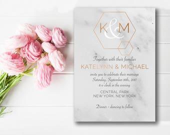 Marble Wedding Suite, Modern, Wedding Invitation, Printable, Wedding Invitation Suite, Wedding Invite, Wedding Download, Copper, Geometric,