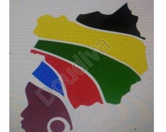 African Rasta lady SVG File- SVG File For Cricut, Ethnic Svg File, Afrocentric svg, Natural Hair svg, Afro Svg, Afro girl Svg, Natural Svg