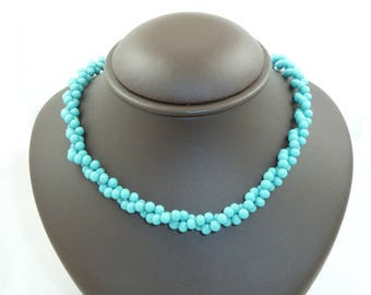 Vintage Double Twist Turquoise Bead Necklace with Screw Closure