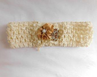 Elegant Cream Baby Headband with Caramel-Colored Flower