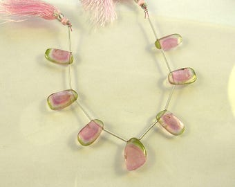 Watermelon tourmaline slice beads 14.5-15.5mm 32.5ct 7 pieces