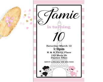 Paris Theme Birthday Invitation, Eiffel Tower Invitation, France Destination Birthday Party, Pink Stripe Party Invitation, Girl Birthday