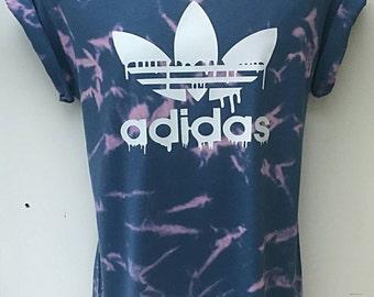 vintage acid wash retro dripping adidas t shirt unisex retro customised rave festival
