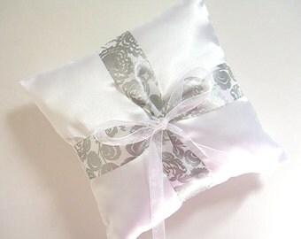 White Satin And Gray Ring Bearer Pillow - Satin Wedding Pillow - Gray Ring Pillow - Ring Pillow - Wedding Pillow