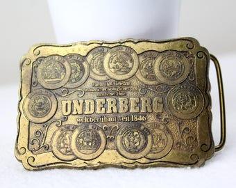 UNDERBERG since 1846 brass belt buckle vintage men and women belt vintage clothing second hand fashion Made in Germany