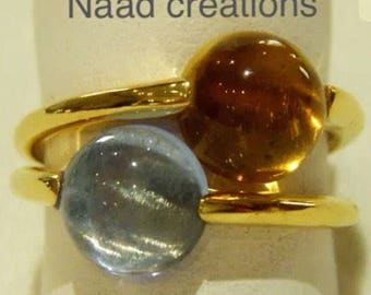 Two 18k gold-plated silver rings
