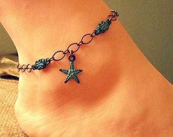 Beach Ankle Bracelet, Starfish Anklet, Starfish Jewelry, Beach Anklets, Beach Foot Jewelry, Beach Inspired Jewelry, Ankle Jewelry
