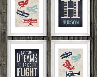 Airplane nursery art, airplanes, aviation, boys nursery, let your dreams take flight, navy blue, vintage airplanes, boys airplane prints