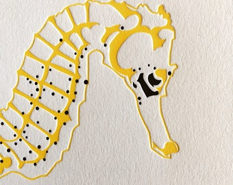 Scuba diver birthday card - Yellow Seahorse - letterpress cards - for her - congratulations blank cards - going traveling - Diving card