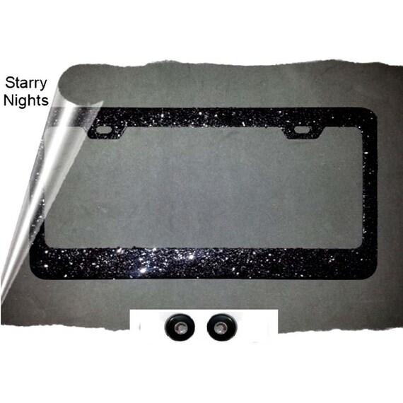 2016 favorite starry nights black sparkly glitter bling rhinestone screw caps kit black metal license plate frame