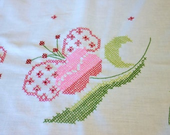 Hand Embroidered table cloth -runner - cotton-heirloom - never used