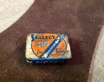 Vintage Sealect Tire Valve Cores Tin with Cores
