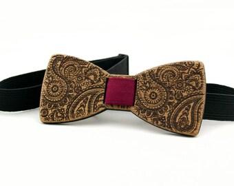 Wooden Bow Tie - PAISLEY - Mahogany Wood - Bow Tie For Men Formal Wear - Clip On No Tie