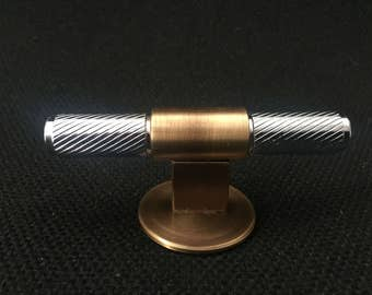 Furniture handle,solid steel and brass