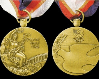 Seoul 1988 Olympic 'Gold' Medal with Ribbons & Display Stands !!!!