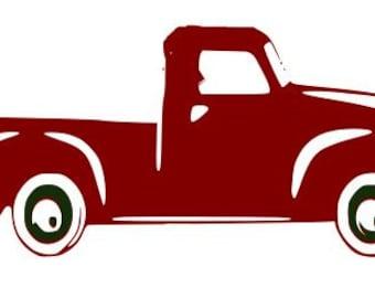 Vintage christmas truck svg, silhouette, cricut, vinyl ...