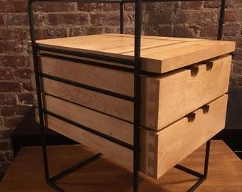 Very rare paul mccobb planner group desk organizer blonde maple iron frame mid century minimalist