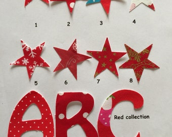 5 Iron on fabric letters , patches- motif for all occasions personalisation, all ages, 7 cm (3 inches)  high Red collection