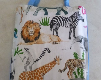 Library Bag.    African Animals design with blue backing.