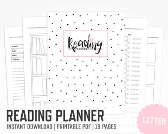 Book Reading Planner / Letter Size / Book Study Reading Journal Reading Log School Personal Reading Planner / INSTANT DOWNLOAD