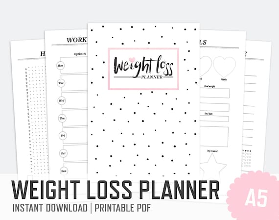 Weight loss planner a5 work out planner by papermouseplanners for For planner