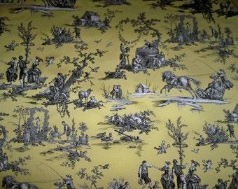 LEE JOFA KRAVET Pastoral Toile De Jouy Fabric 3 Yard Remnant Yellow Black