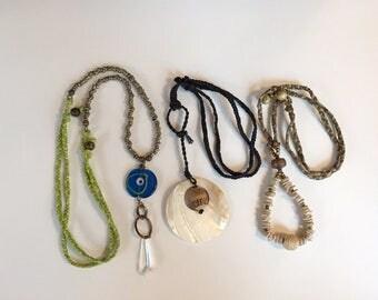 Three Repurpose Vintage Jewelry Parts Necklaces