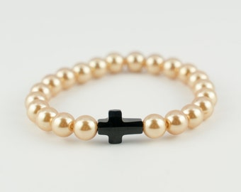 Vintage gold glass pearls with Swarovski black cross