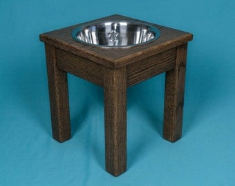 "Elevated Dog Feeder 12"", With Single Two Quart Bowl, Solid Oak Wood"