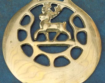 Rare vintage HORSE BRASS STAG Passant Style Design Made in England