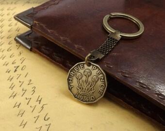 Genuine 1940 World War 2 Scottish Thruppence Three Pence Thru'pence Vintage Coin Keychain 77th Birthday Gift