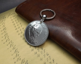Very Large Genuine 1965 Death of Sir Winston Churchill Former British Prime Minister UK Commemorative Crown Coin Keychain