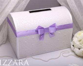 Purple Wedding Card box Card holder Wedding Money Box For Envelopes Purple Gift Card Box wedding ideas Glamorous Dark Purple Wedding Box