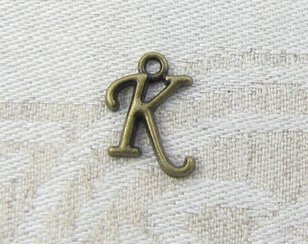 "Bronze Script Letter ""K"" Charms, 1 or 5 letters per package  ALF018k-BZ"