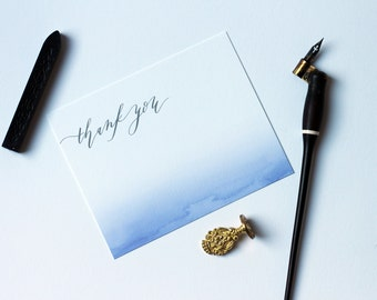 Calligraphy and Watercolor Thank You Card with Matching Envelopes (Set of 25)
