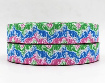 7/8 inch Pink, Blue, Green feathers - Printed Grosgrain Ribbon for Hair Bow