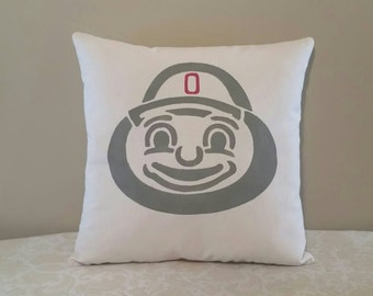 Brutus Buckeye Decorative Throw Pillow | 18x18 inch complete pillow | Gifts for OSU Fans | Brutus the Buckeye Gifts | OSU Man Cave Decor