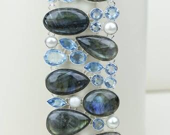 Labradorite Blue Topaz Pearl 925 S0LID Sterling Silver Bracelet B2608