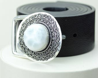 Round Shaped Caribbean LARIMAR Vintage Filigree Antique 925 Fine S0LID Sterling Silver + Copper BELT Buckle T61