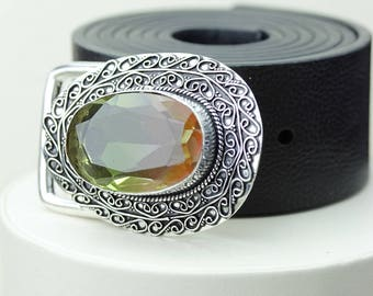 Watermelon TOURMALINE Quartz Vintage Filigree Antique 925 Fine S0LID Sterling Silver + Copper BELT Buckle T62